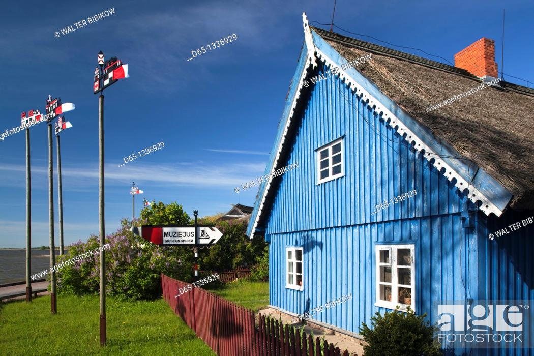 Stock Photo: Lithuania, Western Lithuania, Curonian Spit, Nida, Ethnographic Fishermen's Museum with traditional Curonian weathervanes.