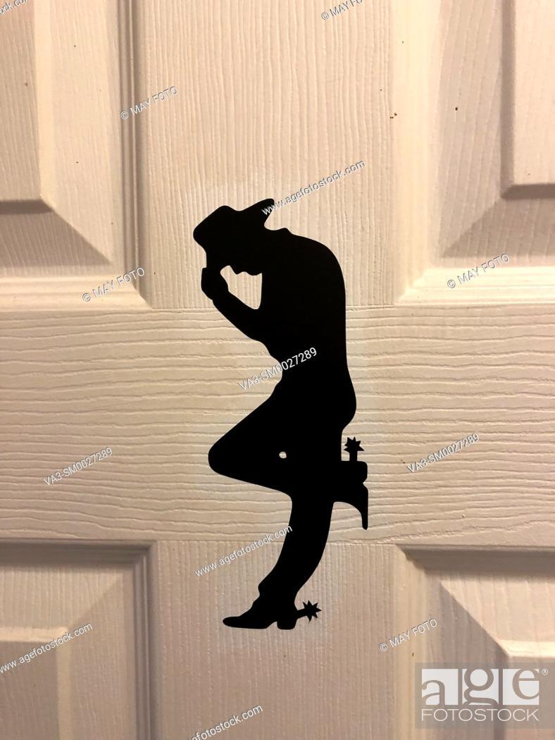 Stock Photo: Bathroom, men, cowboy.