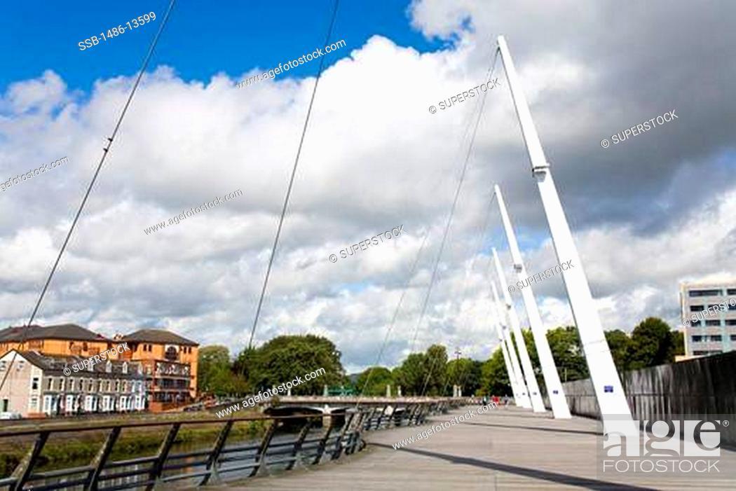 Stock Photo: Riverwalk along River Taff, Cardiff City, Wales, United Kingdom, Great Britain, Europe.