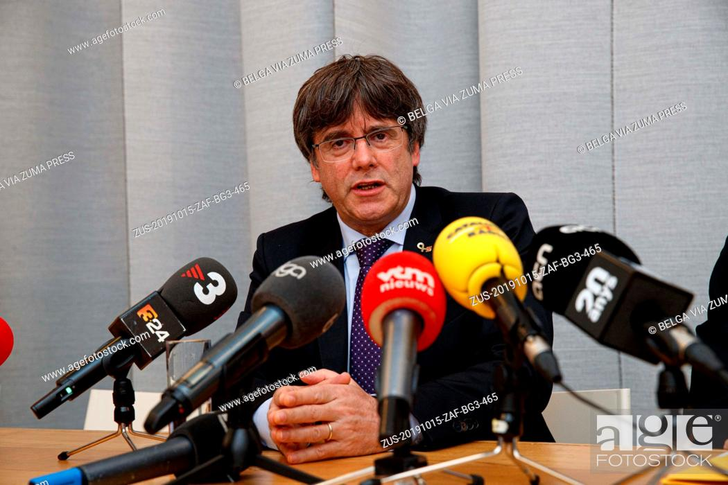 Stock Photo: October 15, 2019, Roeselare, Belgium: Catalan leader in exile Carles Puigdemont pictured during the event 'Wat met Europa' (What with Europe).
