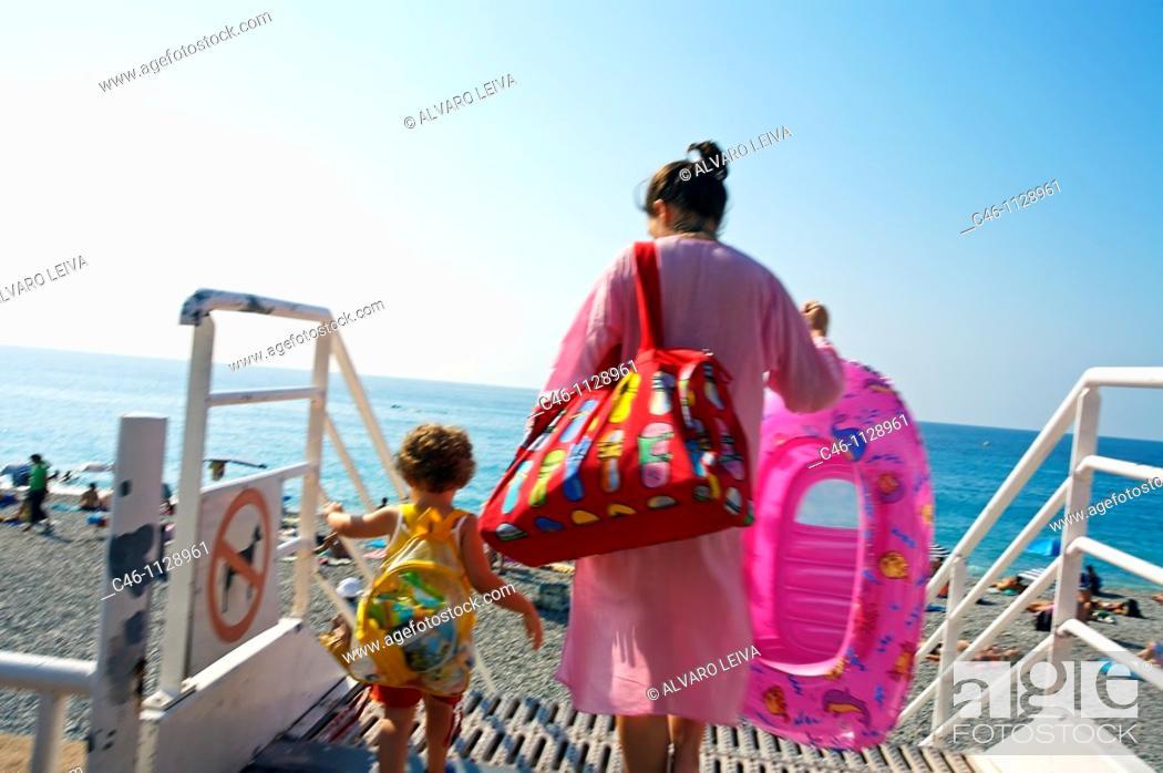 Stock Photo: Beach. Promenade des Anglais. Nice. Alpes Maritimes. Cote d'Azur. France.