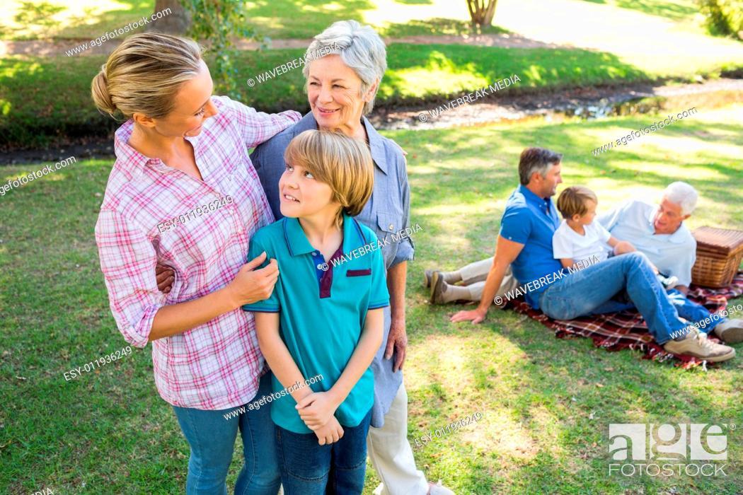 Stock Photo: Happy family in the park.