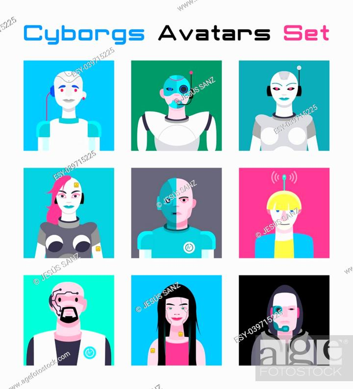 Stock Vector: Varied set of cyborgs characters avatars. Imaginative and friendly colourful collection of happy characters, that combine the human and the machine to give a.