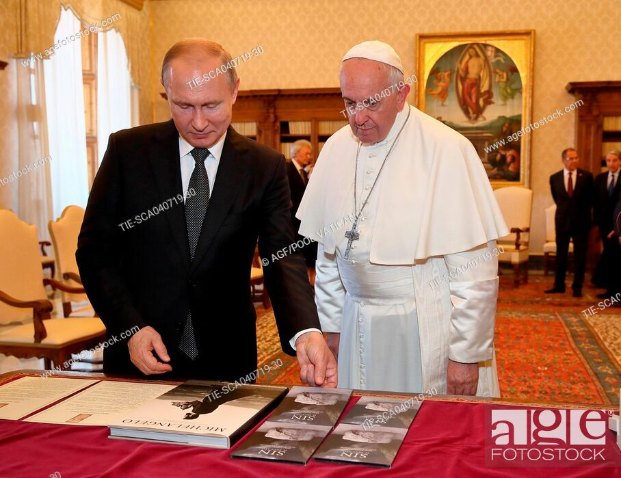 Stock Photo: Pope Francis receives in audience Vladimir Putin, President of the Russian Federation. Vatican City, Vatican 04-07-2019.