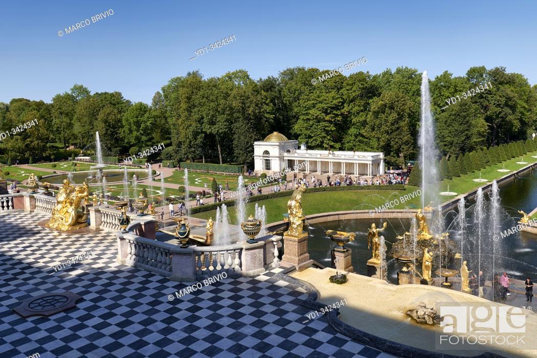 Stock Photo: St. Petersburg Russia. Peterhof Palace.