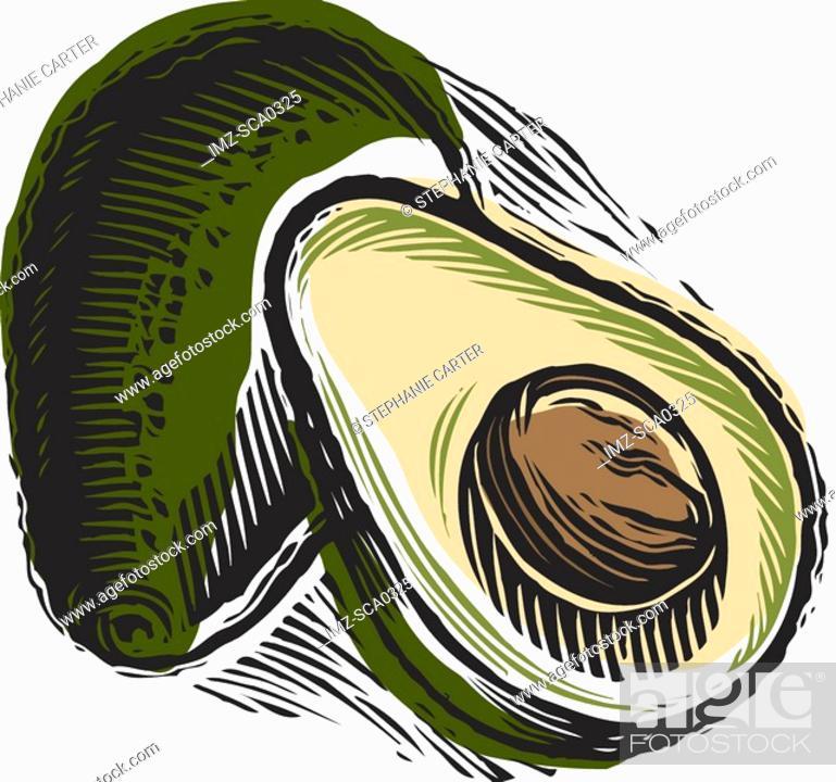 Stock Photo: Sliced avocado.
