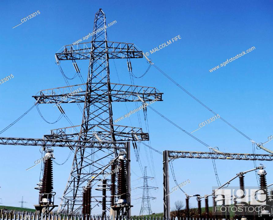 Stock Photo: Electricity sub-station. East Lothian. Scotland.