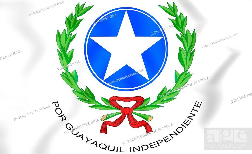 Stock Photo: Guayaquil coat of arms, Ecuador. 3D Illustration.