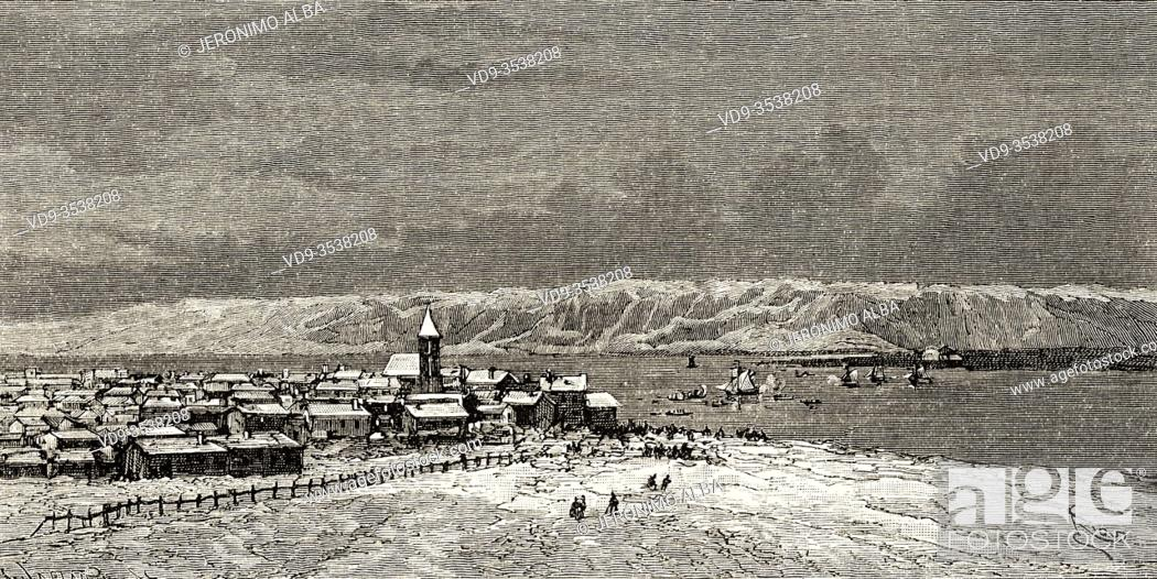 Imagen: Landscape panoramic view scandinavia city of Tromso, Norway. Europe, 19th century Old engraving illustration trip to the North Pole.