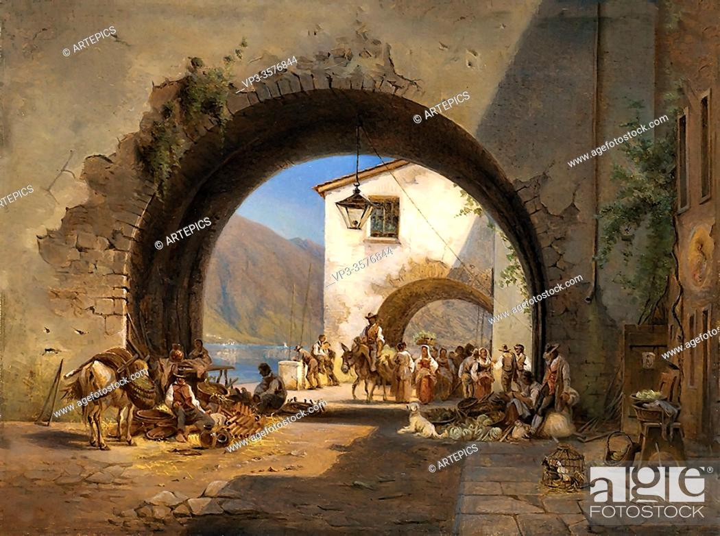 Imagen: Rohde Frederik Niels Martin - Arches and Market Italy - Danish School - 19th and Early 20th Century.