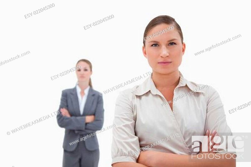 Stock Photo: Two businesswomen posing.