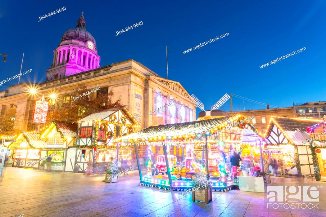 United Kingdom Christmas.Christmas Market In The Old Town Square Nottingham