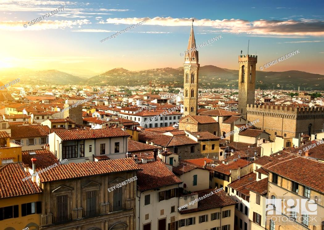 Stock Photo: View on towers Bargello and Badia Fiorentina in Florence, Italy.