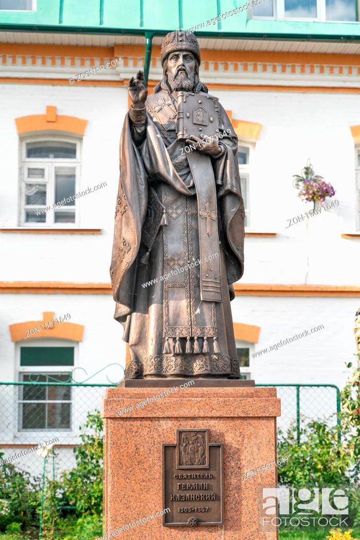 Stock Photo: Cheboksary/Russia -03.05.20:Monument to St. German Kazan. Translation: To saint German Kazansky.