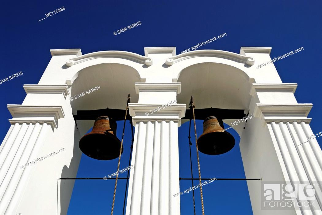 Stock Photo: Church's belltower of Rhenish Mission in Stellenbosch Winelands, Western Cape Province, South Africa.