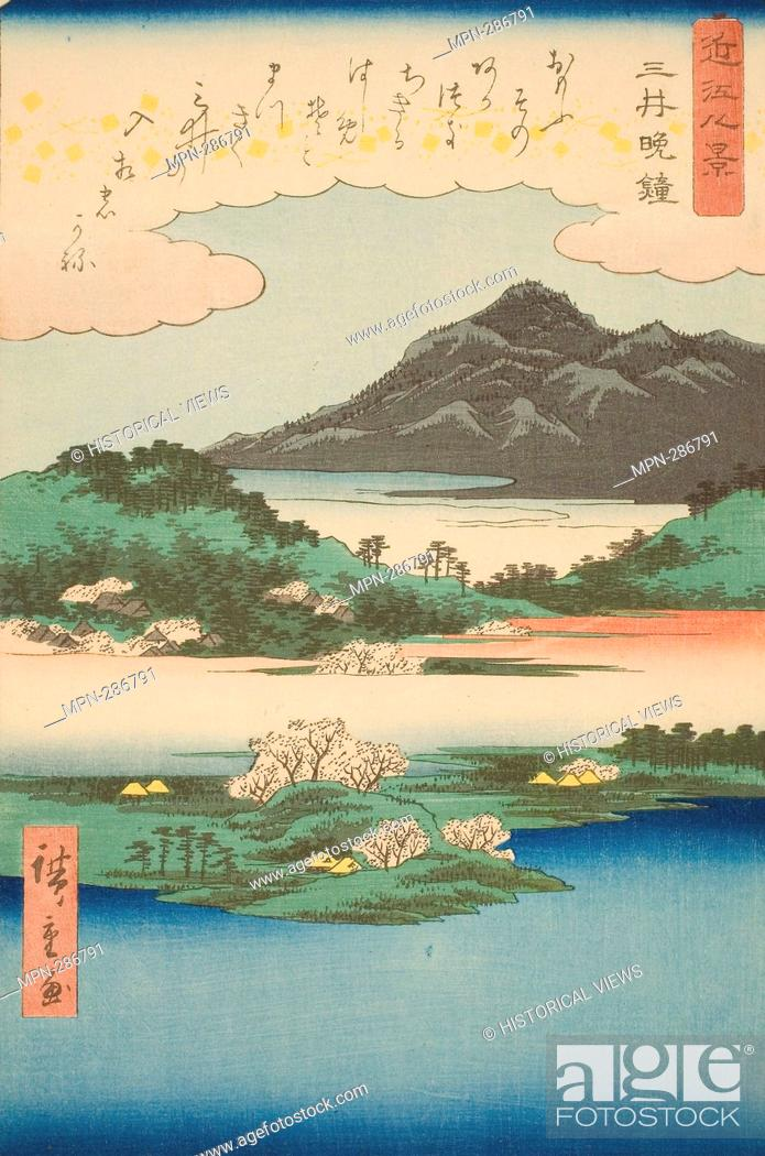 Stock Photo: Author: Utagawa Hiroshige. Evening Bell at Mii Temple (Mii bansho), from the series 'Eight Views of Omi (Omi hakkei)' - 1857 - Utagawa Hiroshige O f Japanese.