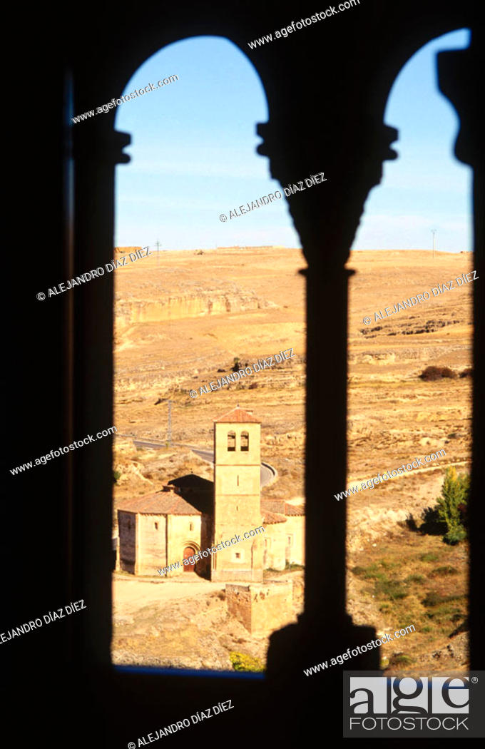 Stock Photo: Templar church of the Vera Cruz seen from the Alcázar, Segovia. Spain.
