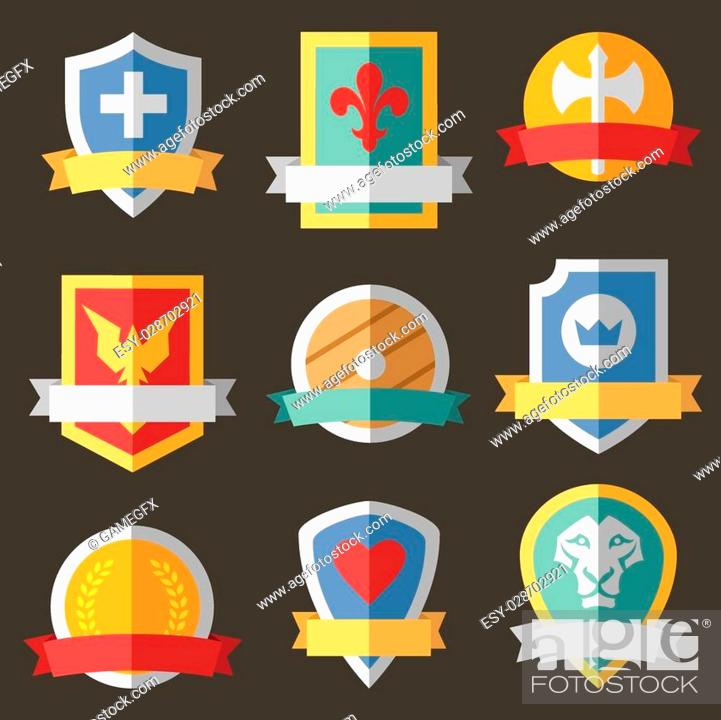 Stock Vector: Vector coats of arms, shields, ribbons.