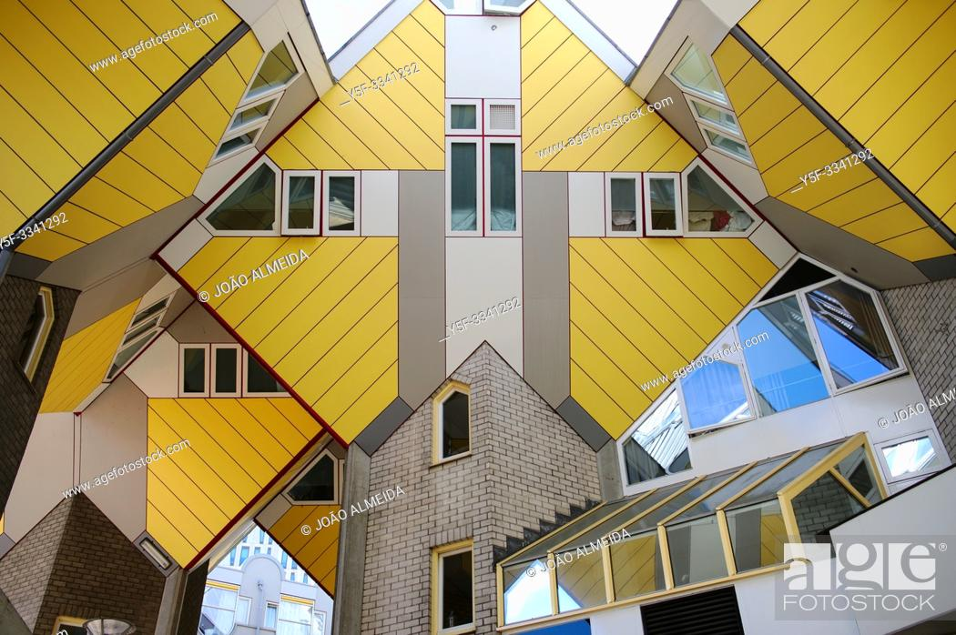 Stock Photo: The iconic yellow cube shaped building in downtown Rotterdam.