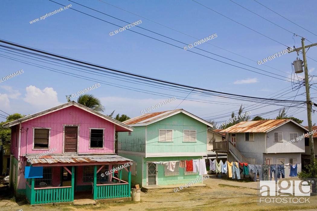 Stock Photo: Houses in row, Honduras.