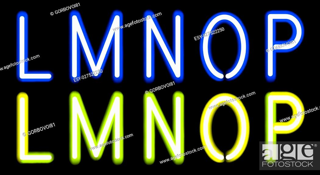 Stock Vector: Vector Blue and Yellow Neon alphabet. Gradient Mesh.
