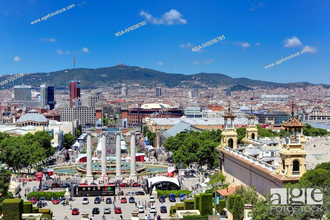 Stock Photo: Cityscape from the Palau Nacional on Montjuic, Barcelona, Catalonia, Spain.