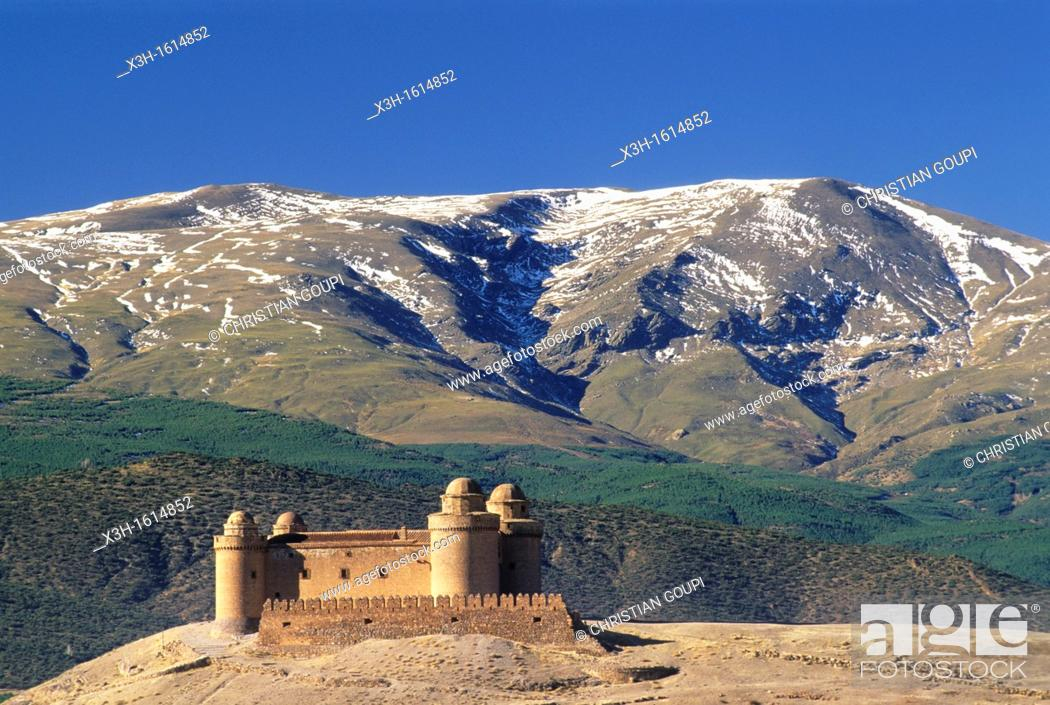 Stock Photo: Castle of La Calahorra in the Sierra Nevada foothills, Province of Granada, Andalusia, Spain, Europe.
