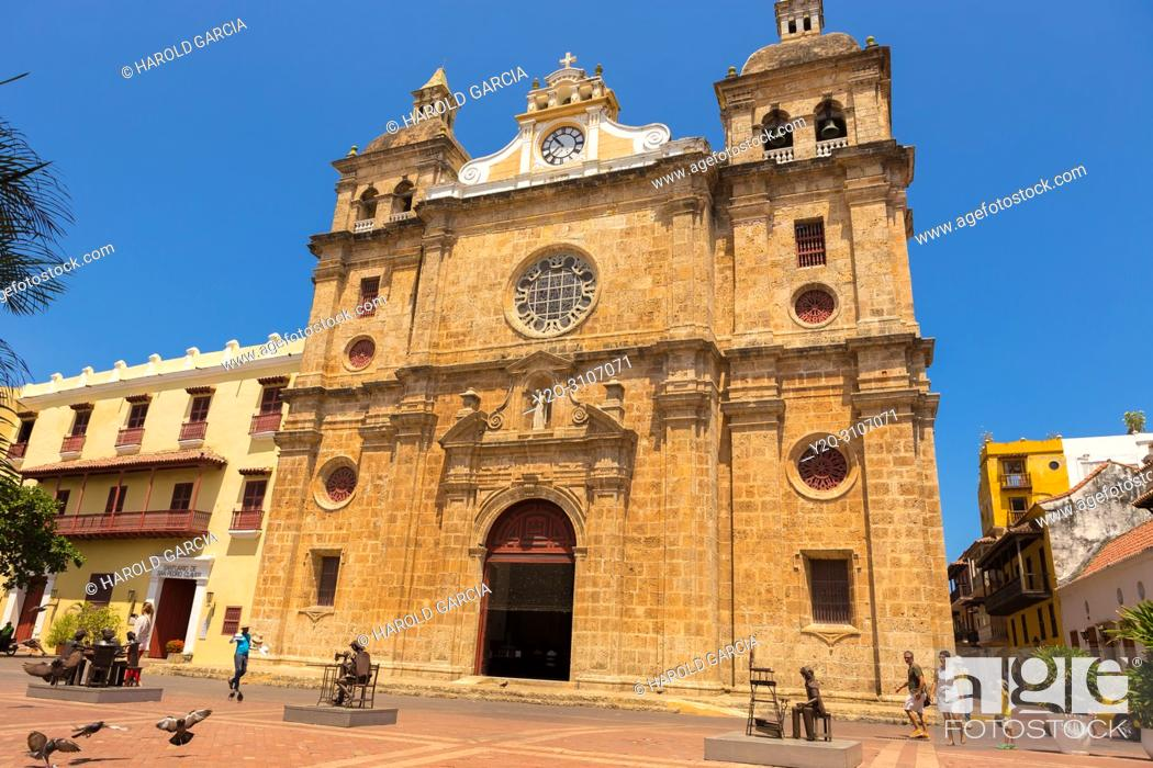 Stock Photo: Cloister and Church of San Pedro Claver in the ancient walled city of Cartagena de Indias. Cartagena, Colombia.