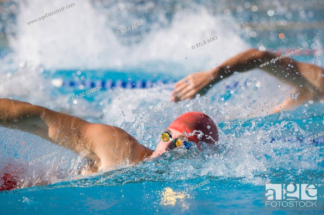 Stock Photo: Australian swimmers competing for front crawl.