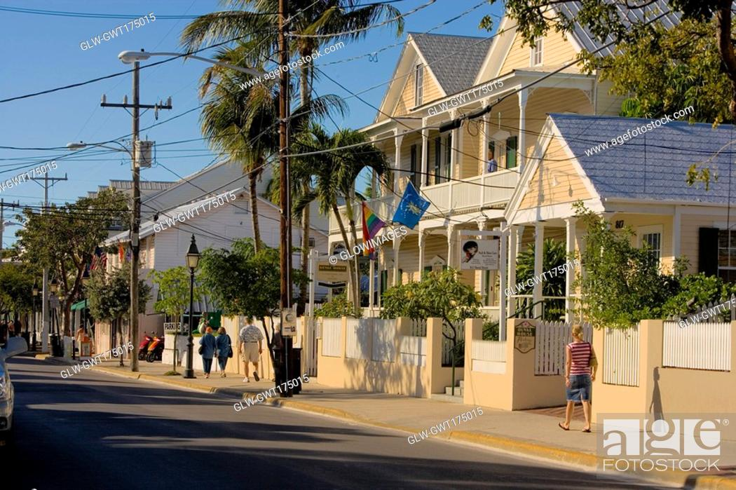 Stock Photo: Buildings at the roadside, Duval Street, Key West, Florida, USA.