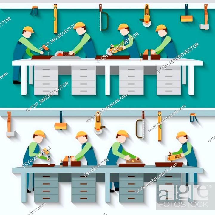 Stock Vector: Carpentry Workshop Illustration.