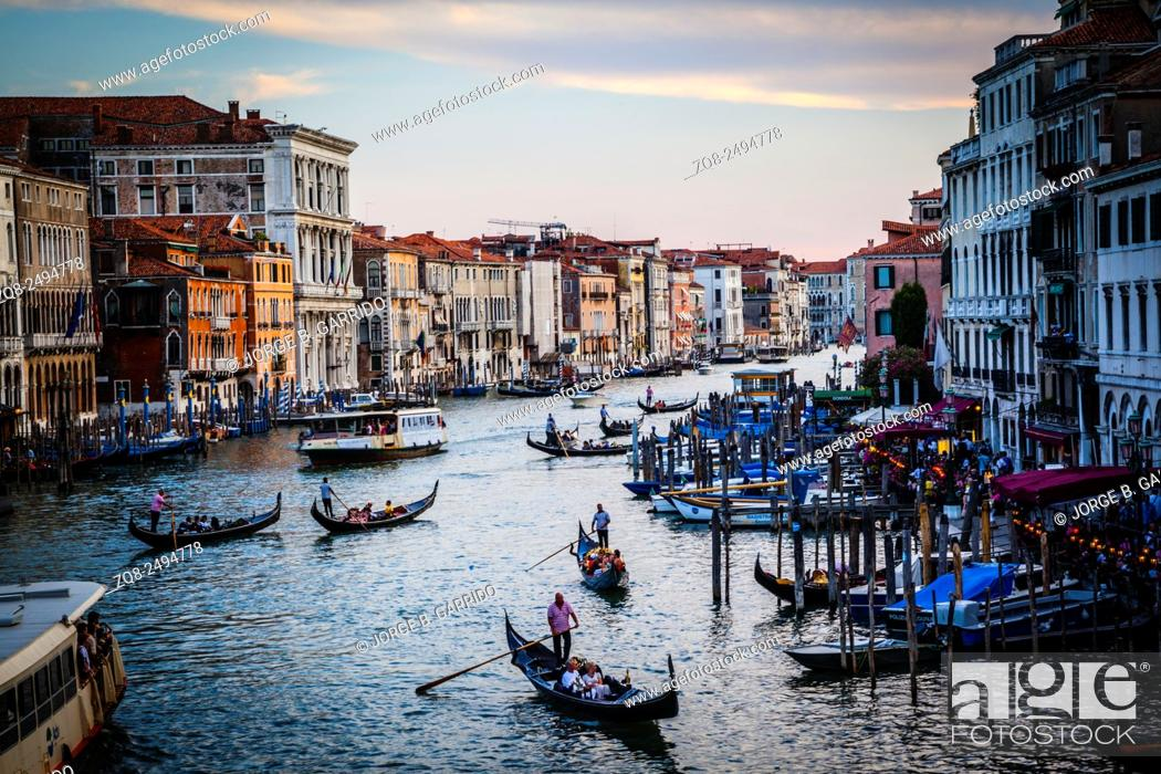 Stock Photo: Beautiful water street - Grand Canal in Venice, Italy.