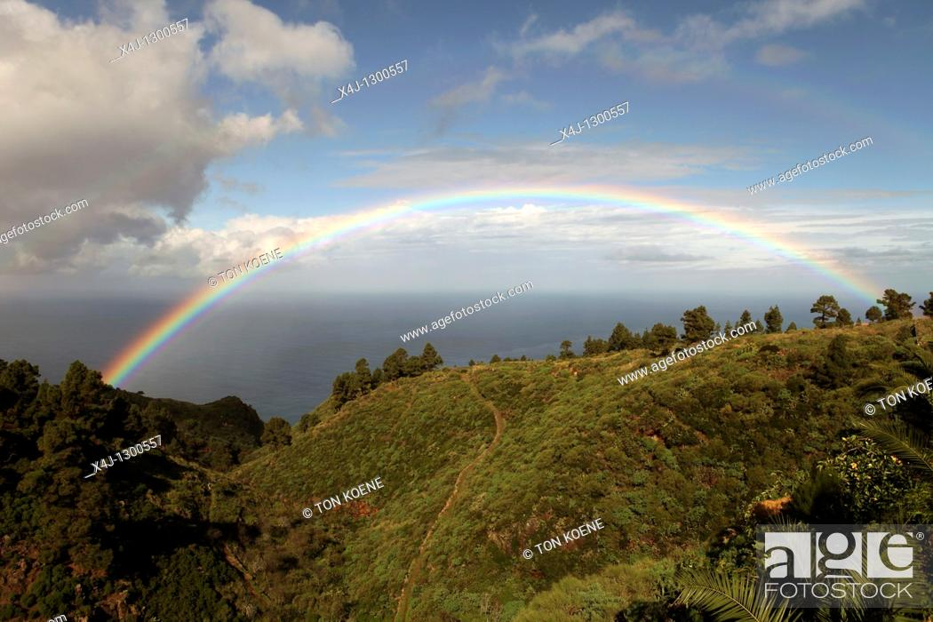 Stock Photo: rainbow on La Palma. Canary Islands, Spain.