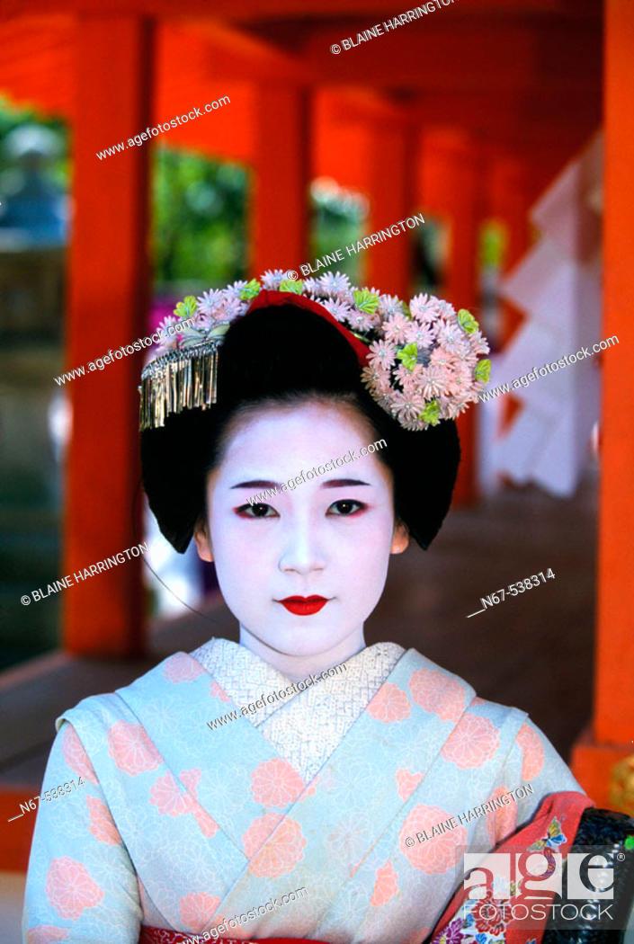 Stock Photo: Maiko (Geisha apprentice), Kitano-Tenmangu Shrine, Kyoto, Japan.