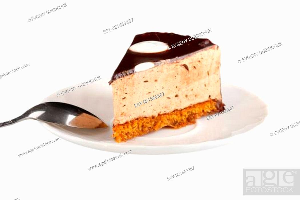 Stock Photo: tasty chocolate cake isolated on white.