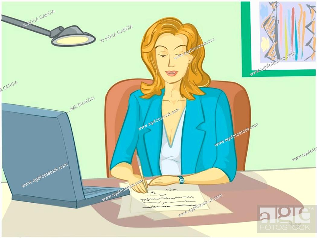 Stock Photo: A woman at work in front of her computer.