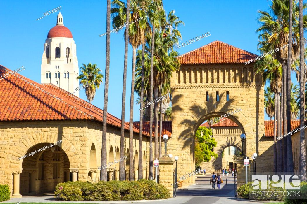 Stock Photo: Stanford University campus with Hoover Tower and arches and palm trees leading to quad.