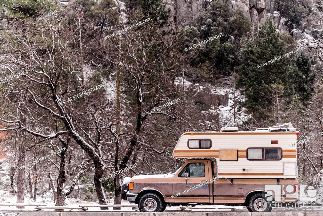 Stock Photo: Campervan parked in Yosemite National Park, California, USA.