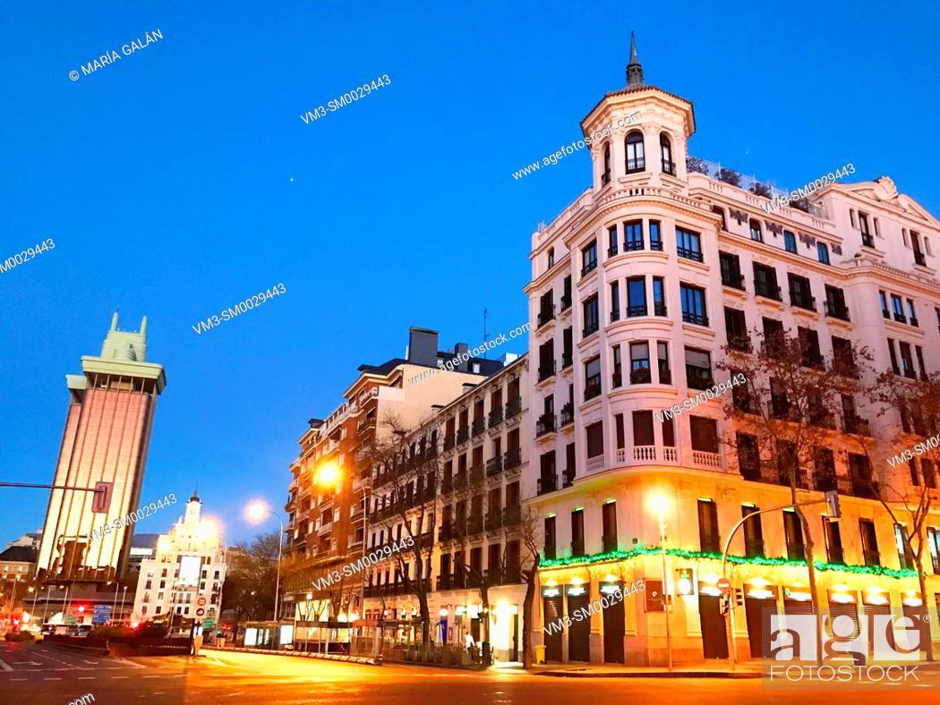 Stock Photo: Goya street, night view. Madrid, Spain.