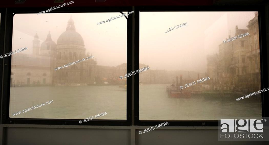 Stock Photo: Window in Vaporetto, Venice, Italy.
