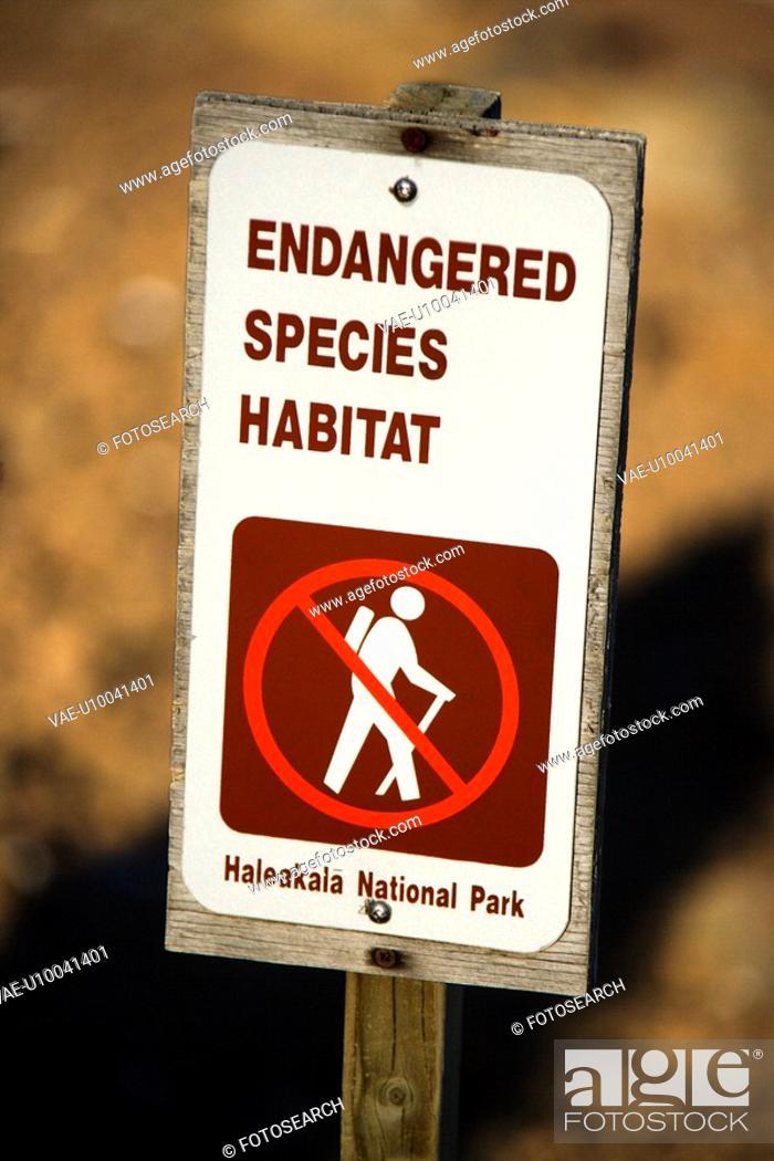Stock Photo: Endangered species habitat sign in Haleakala National Park in Maui, Hawaii.
