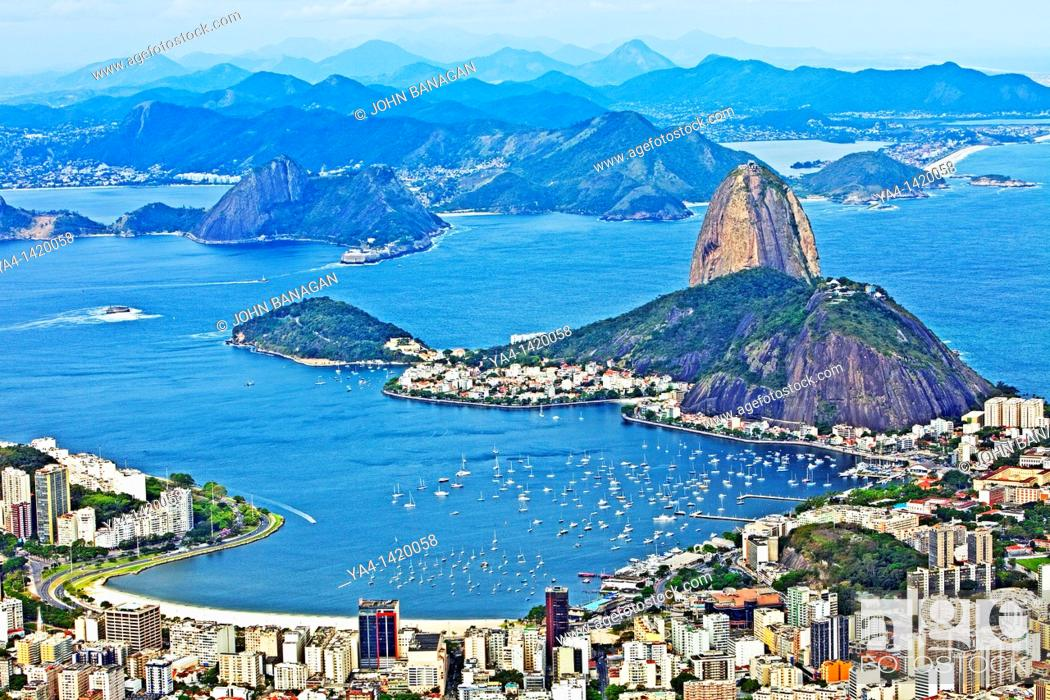 Stock Photo: Sugarloaf montain Rio de Janeiro, view from Christ the Redeemer.