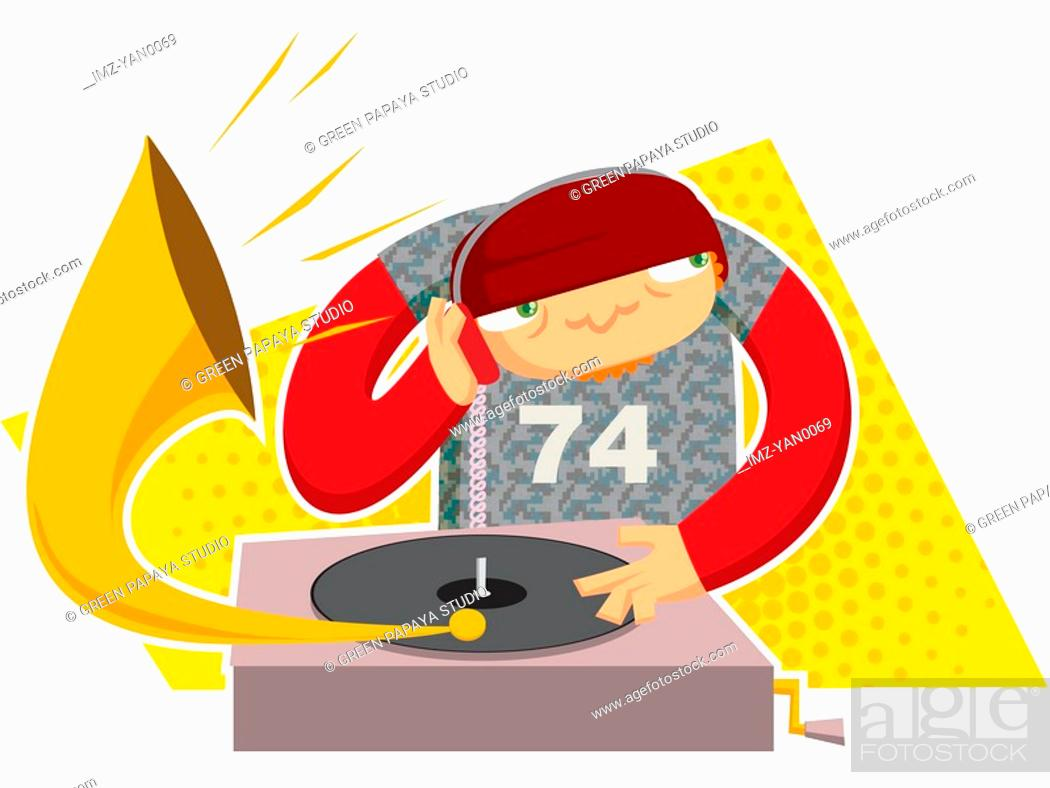 Stock Photo: Drawing of a DJ composing music.