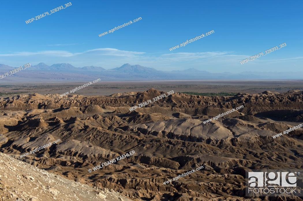 Stock Photo: View from the overlook of the rock formation in the Valley of the Moon near San Pedro de Atacama in the Atacama Desert, northern Chile.