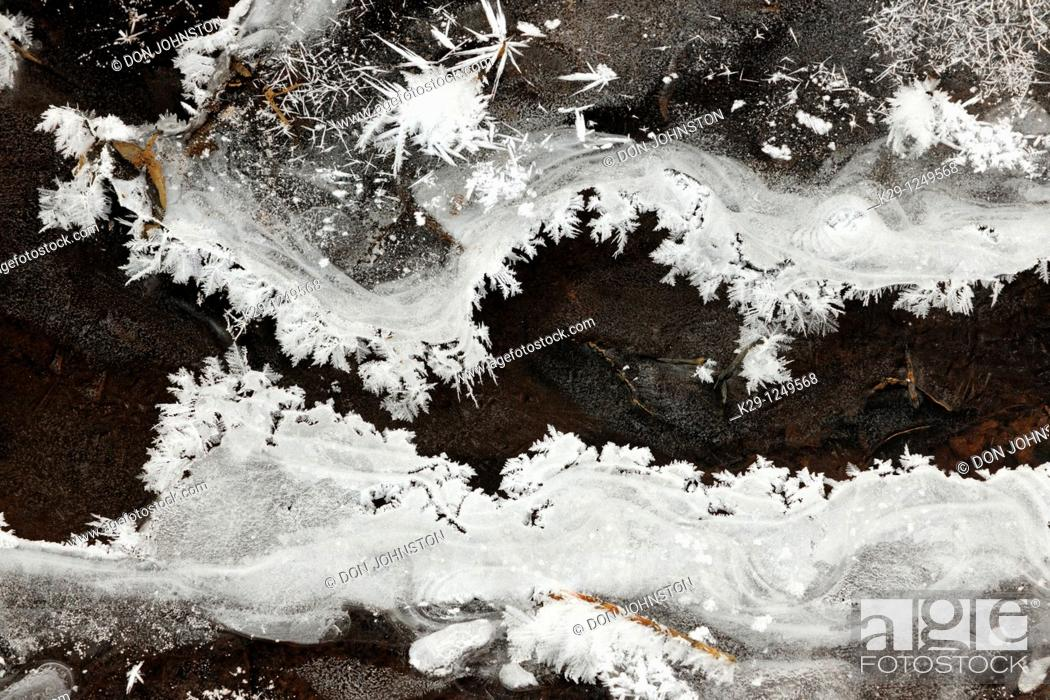 Stock Photo: Ice and frost patterns along edge of small creek in early winter.
