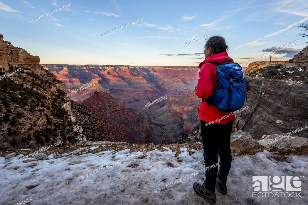 Stock Photo: Young woman looking into the gorge of the Grand Canyon, view from the Bright Angel Trail, eroded rock landscape, South Rim, Grand Canyon National Park.