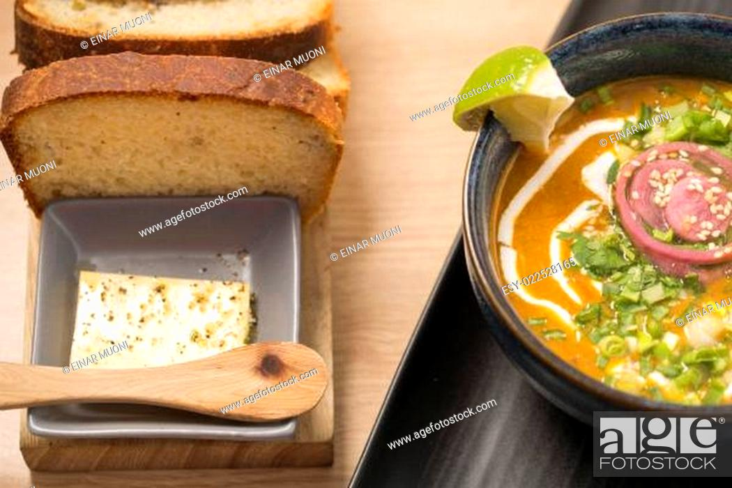 Stock Photo: Ceramic bowl with delicious soup.
