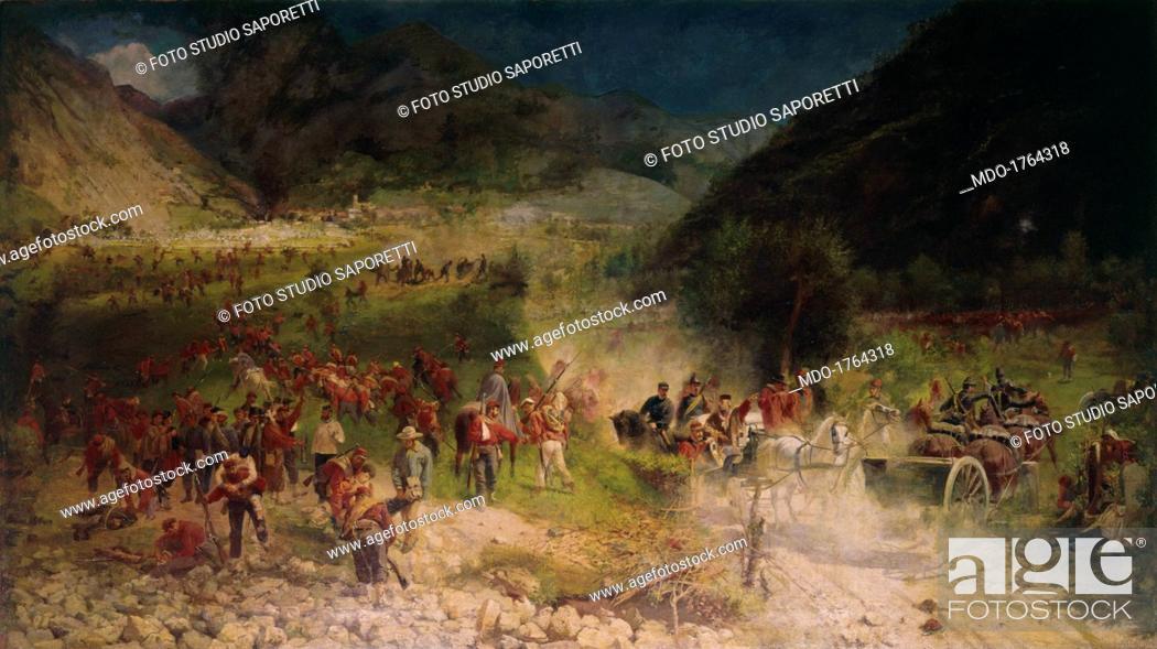 Stock Photo: Bezzecca Battle (La battaglia di Bezzecca), by Felice Zennaro, 1866, 19th Century, oil on canvas, 164 x 290 cm. italy, lombardy, Milan.