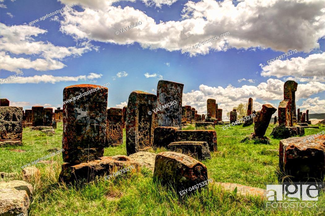 Stock Photo: Stone slabs aha khachkar in Noratus cemetery, Armenia.