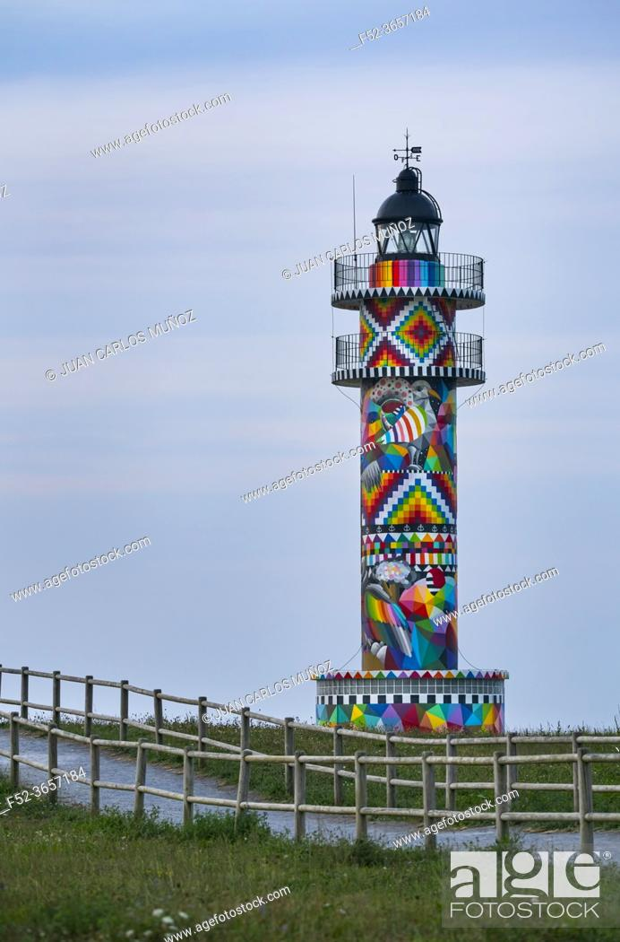 Imagen: Cabo de Ajo Lighthouse painted by the painter Okuda San Miguel, specialized in Urban Art. Ajo, Bareyo Municipality, Cantabria, Cantabrian Sea, Spain, Europe.